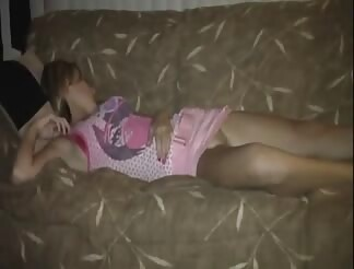 blonde chick gets boned while sleeping