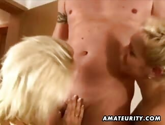 two stacked amateur husband share one rod with cumshot