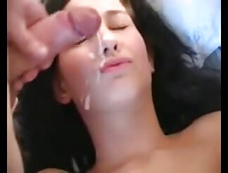 Cute amateur girl getting bukkake