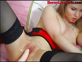 Nice blondie does web cam show three