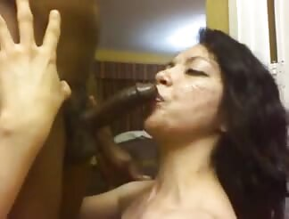 Rough blowjob with Latin chick