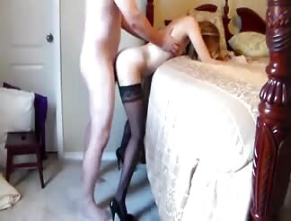 Tight chick with high heels gets doggy fucked