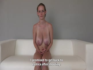 Amateur girl with lovely tits does audition