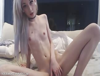 Hot sexy skinny blonde girl masturbating