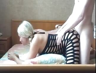Hard doggy fuck with his busty GF