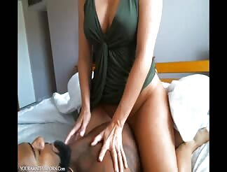Super sexy blonde milf bouncing on black cock