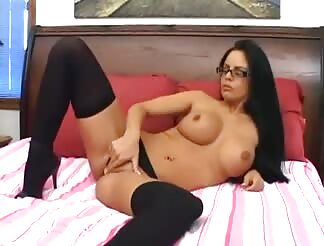 Curvy honey in opaque thigh high stockings screwing