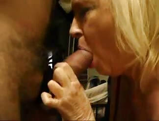 Blond mature blows meat with hunger