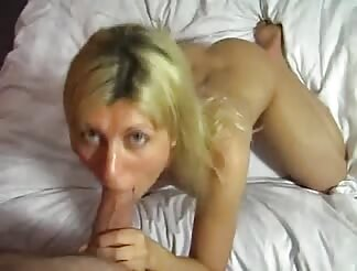 lovely blond masturbates and swallows rod