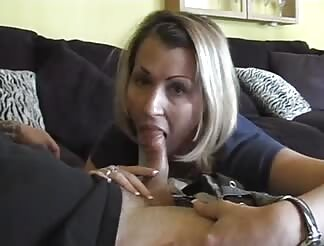 Pretty fine milf blowing and swallowing my cum