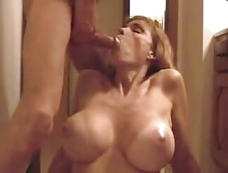 Mom with huge boobs mouthfucked and cummed