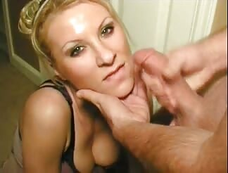 sleazy yellow-haired lady gets warm facial
