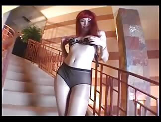 thin honey masturbating in crotchless hosiery