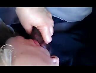 older chick sucks me in the car
