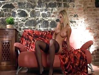 Nice blondie in stockings panties and stilettoes