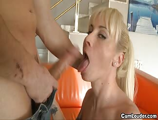 Yellow hairy hispanic mommy sucking a monstrous load