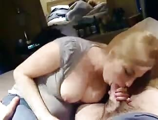 Busty yellow-haired swallows enormous cock