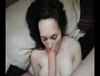 White lady is blowing giant penis
