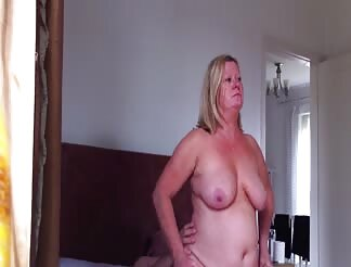 fat wife sits on giant cock