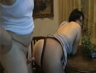 BBW mature in pantyhose fucked from behind
