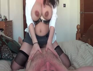 Mature riding her hubby