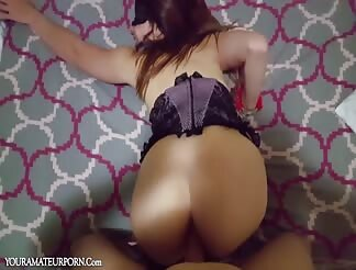 Blindfolded wife takes anal sex