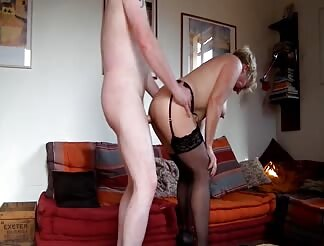 Lovely mature couple fucking at home