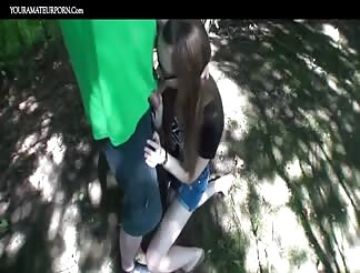 Teens fucking outdoors in the woods