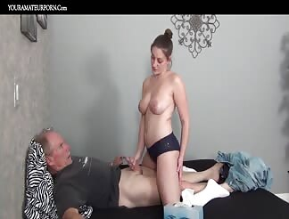 Amateur girl fucks an old guy