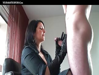 Getting A Slow Sensual HJ With Leather Gloves On