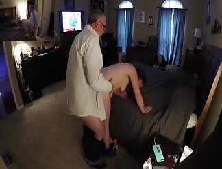 Young chick having a fuck with an older neighbour