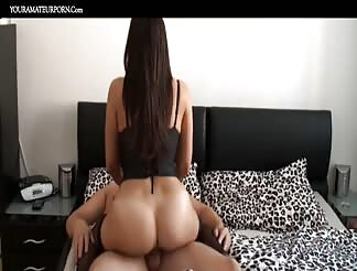Super hot brunette riding and blowing like a pro