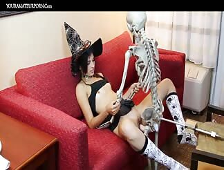 Having my halloween sex on the couch