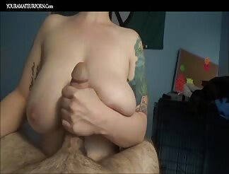 Wife with big tits makes him cum