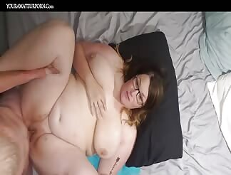 Chubby girl with big boobs filmed from the top