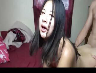 Cute asian college girl fucked by her white boyfriend