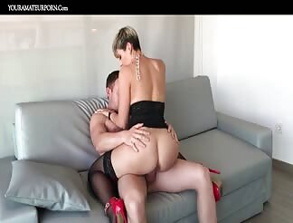 Short haired horny slut riding cock