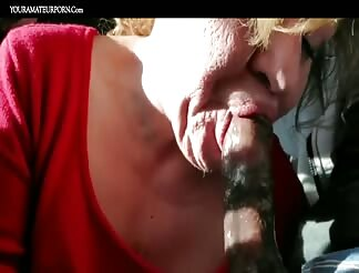 Dirty granny eating cum blowing a black dick