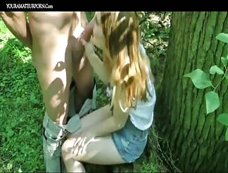 Fucking a super cute German teen girl outdoors