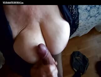 French granny with big boobs eating cum