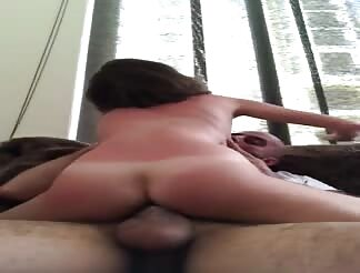 Petite skinny girl riding a big cock