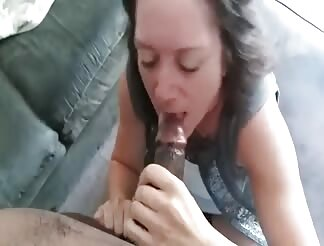 Slut slurping cock and eating the whole load