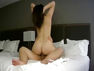 Sexy brunette riding to orgasm