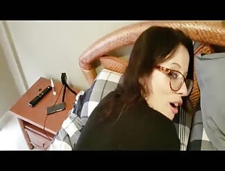 Sexy girl with glasses on fucked in her ass