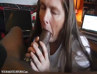 Mature slut not so happy about the cum in her mouth