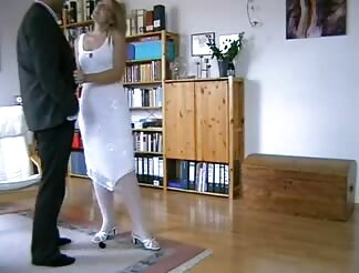 Hot yellow hairy bride pounded hard at home