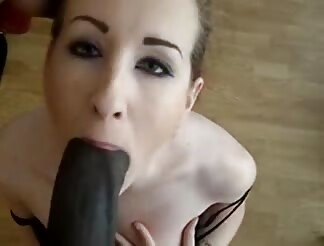 tasty goth girl sucks on a really black penis