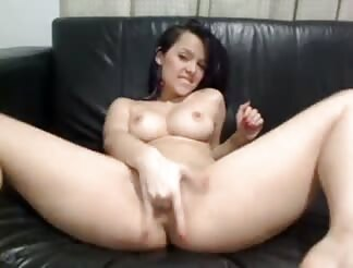Pretty sweet girl masturbating on her webcam