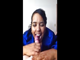 Dark latina bbw swallows good meat on iphone