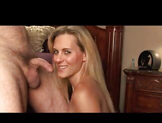 Sweet blonde milf blowing cock